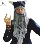 Gebreide viking muts met grijze baard, ski muts, Balaclava, Bivakmuts, carnaval feest muts helm