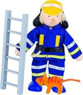 Goki Houten buigpopje brandweerman met ladder 11,5cm