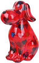 Pomme Pidou spaarpot hond Toby - Uitvoering - Rood met harten