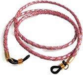 Brillenkoord - gevlochten rundleer - 3 mm - oud roze - goudkleurige bevestiging