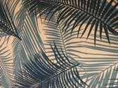 Behang Tropical wit / blauw