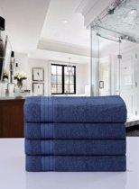 Luxe Katoen Handdoek Denim | 50x100 | Set van 4 | Met Een Geweven Bies