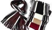 Bruin gestreepte heren sjaal acryl 23 x 180 cm