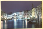 Canvas op houten frame - Rialto Bridge in Venetië met 8 leds