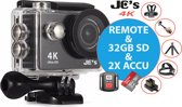 Action Camera JC's 9R 4K Ultra HD + Afstandsbediening + Wifi +  & 16MP foto met OmniVision Chipsensor 4689 + Sandisk 32GB SD + Extra Accu + Borstband + Hoofdband + Selfie Stick + Dual accu lader