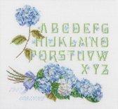 Thea Gouverneur Borduurpakket 2088 Hortentia Alphabet - Linnen stof