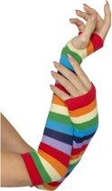Veelkleurige gestreepte handschoenen voor volwassenen - Verkleedattribuut
