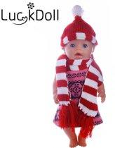 B-Merk Baby Born muts en sjaal rood/wit