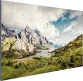 Berggebied Aluminium 90x60 cm - Foto print op Aluminium (metaal wanddecoratie)