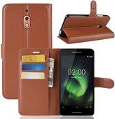 Hoesje voor Nokia 2.1 (2018), 3-in-1 bookcase, bruin