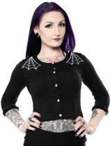 Sourpuss Spiderweb cardigan zwart - L