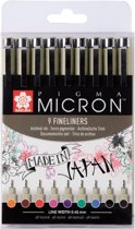 Pigma Micron 05 set 9 kleuren fineliners (0,45 mm)