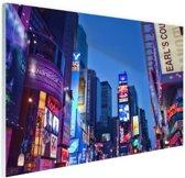 Times Square by night Glas 30x20 cm - Foto print op Glas (Plexiglas wanddecoratie)