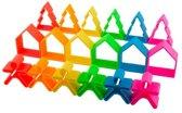 Dëna bijt- en grijpspeelgoed - 6 kindjes + 6 huisjes + 6 bomen - neon