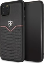 iPhone 11 Pro Max Backcase hoesje - Ferrari - Effen Zwart - Leer