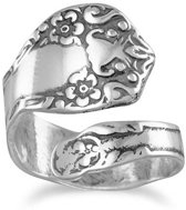 Boho ring Floral - 925 zilver - maat One-size - maat One-size