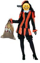 Zwarte Piet Kostuum   Oranje Gestreepte Piet Dames   Vrouw   Maat 38   Sinterklaas   Verkleedkleding