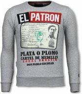 Local Fanatic Narcos Billionaire - Rhinestone Sweater - Grijs - Maten: XXL