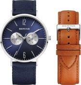 BERING 14240-507 - Horloge - Leer/Nylon - Blauw - 40 mm