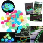 Glow In the Dark Decoratie Aquariumsteentjes - Bodembeddeker - 50 Stuks