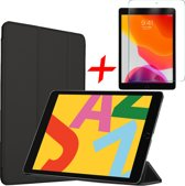 iPad 10.2 (2019) Hoes + Screenprotector - Tri-Fold Book Case Hoesje - iCall - Zwart