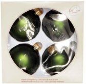 Cosy @ Home Kerstbal glas set 4 grasgroen mat 8cm