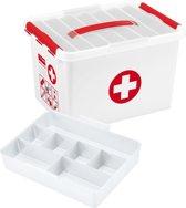 Sunware EHBO doos Opbergbox - 22L - met vakverdeling - wit/rood