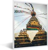 Foto in lijst - Stoepa bij het Durbarplein in Kathmandu fotolijst wit 30x40 cm - Poster in lijst (Wanddecoratie woonkamer / slaapkamer)