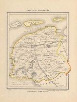 Historische kaart, plattegrond van Provincie Friesland uit 1867 door Kuyper van Kaartcadeau.com