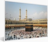 Foto in lijst - De Kaäba van Mekka in Saoedi-Arabië fotolijst wit 40x30 cm - Poster in lijst (Wanddecoratie woonkamer / slaapkamer)
