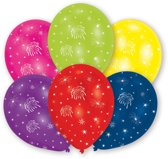 6 Latex Balloons All Round Printed Fireworks 27.5 cm/11
