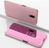 Let op type!! Voor Xiaomi Redmi 8A plating spiegel horizontale Flip lederen draagtas met beugel holster (Rose goud)