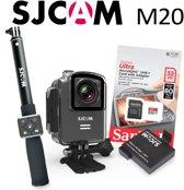 SJCAM M20 WiFi 2.5K Action Sportcam met extra Accu, Selfiestick, Remote Control en 32Gb Sandisk kaart