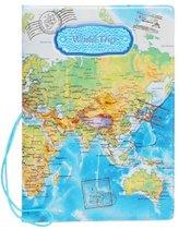 Paspoorthouder met wereldkaart opdruk - blauw - reisportemonnee