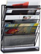 relaxdays tijdschriftenrek muur - lectuurrek wand A4 - tijdschriftenhouder - 6 vakken zwart