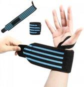 Fitness / Crossfit Polsband - Polsbandage Wrist Support Wraps - Pols Bandage Band - Lifting Straps - Blauw/Zwart