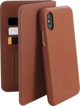 Serenity 2 in 1 Leather Wallet Case Apple iPhone X/XS Cognac Brown