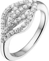 The Jewelry Collection Ring Blad En Zirkonia - Zilver Gerhodineerd