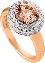 Diamonfire - Zilveren ring met steen Maat 18.5 - Rosegoudverguld - Bruine steen