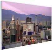 Las Vegas skyline bij zonsondergang Glas 90x60 cm - Foto print op Glas (Plexiglas wanddecoratie)
