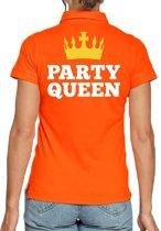 Koningsdag poloshirt / polo t-shirt Party Queen oranje dames - Koningsdag kleding/ shirts S