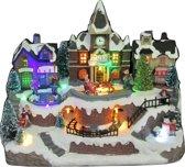 Kerstdorp - Kersthuis - Treinstation met LED verlichting - 3 x Beweging - 8 kerstliedjes