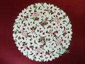 Tafelkleed - Opengewerkt met roze bloem - Rond 60 cm - 7662-RSZ