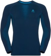 Odlo Suw Top Crew Neck L/S Performance Warm Sportshirt Heren - Poseidon-Blue Jewel