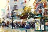Plein met terras in Spanje, Andalusië, Velez Malaga | abstract, modern, sfeer, stad | Foto schilderij print op Canvas (wanddecoratie) | 60x40cm