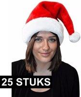25x Kerstmuts rood pluche voor volwassenen - Rode Kerstmuts - Kerstmannen mutsen 25 stuks