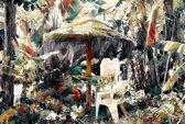 Terras met houten parasol en tropische planten op het strand in Benajarafe in Spanje, Andalusië, Malaga   modern, sfeer   Foto schilderij print op Glas (plexiglas wanddecoratie)   60x40cm