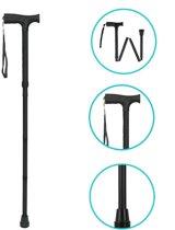 Universele Opvouwbare Zwarte Wandelstok - van 84 tot 94 cm | Ondersteunende Stok voor Dames en Heren | Ondersteuning voor Ouderen | Wandelen | Wandeling
