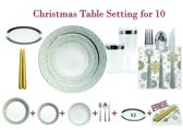 Deluxedisposables  -Luxe wegwerp eenmalig plastic tafel Serviesset voor 10 personen wit -zilver + Decorative set: 20 servetten  + 2 kaarsen 24 cm  GRATIS !