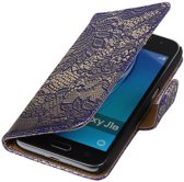 Blauw Lace booktype cover hoesje voor Samsung Galaxy J1 Nxt / J1 Mini